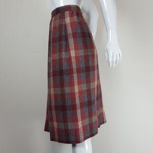 Vintage Red Gray Plaid Midi Skirt